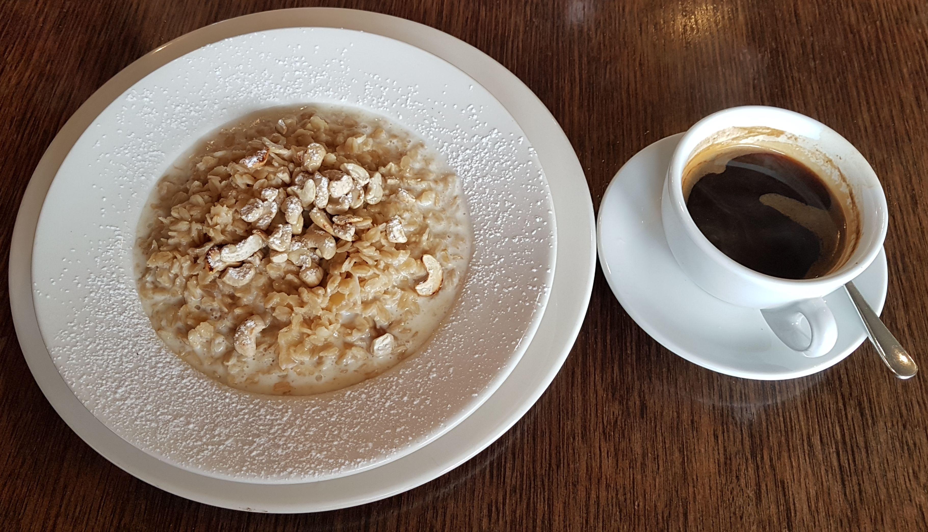 Porridge and coffee at Capitol Restaurant