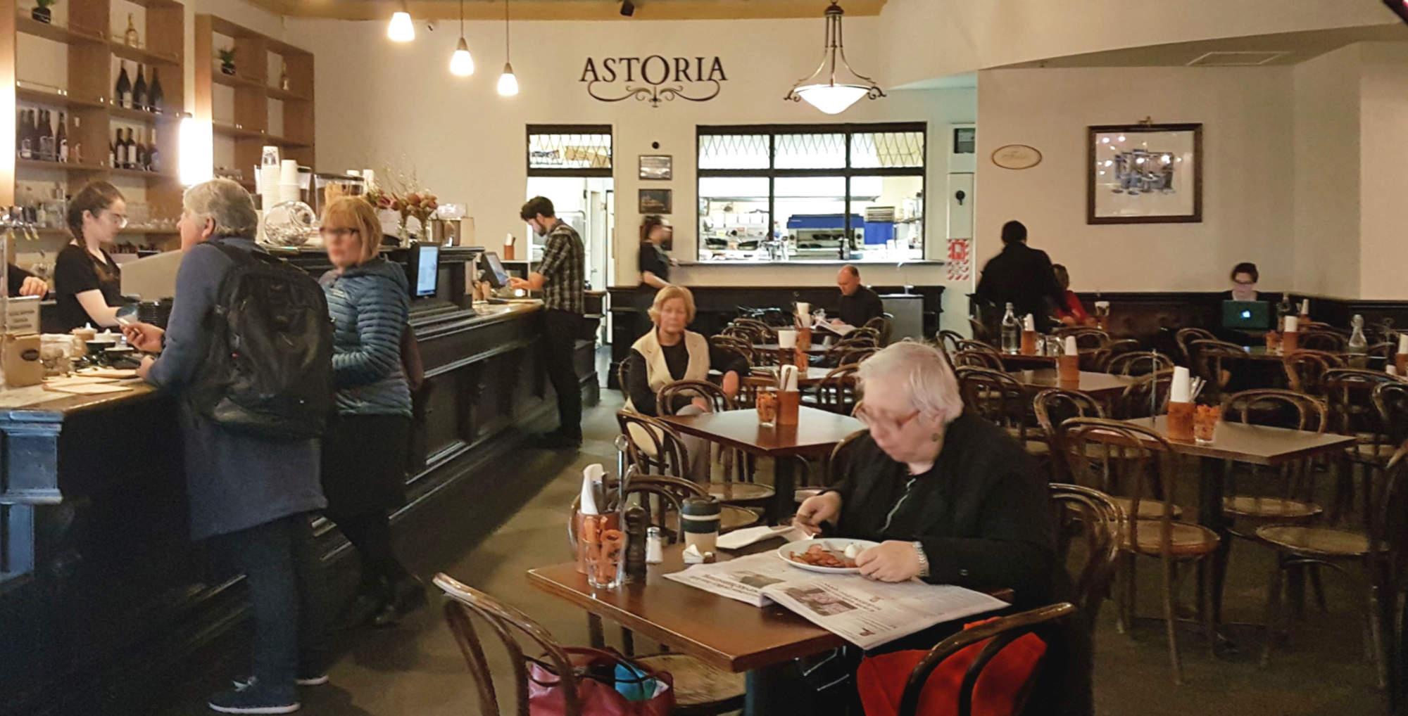 Astoria cafe interior, view along the counter