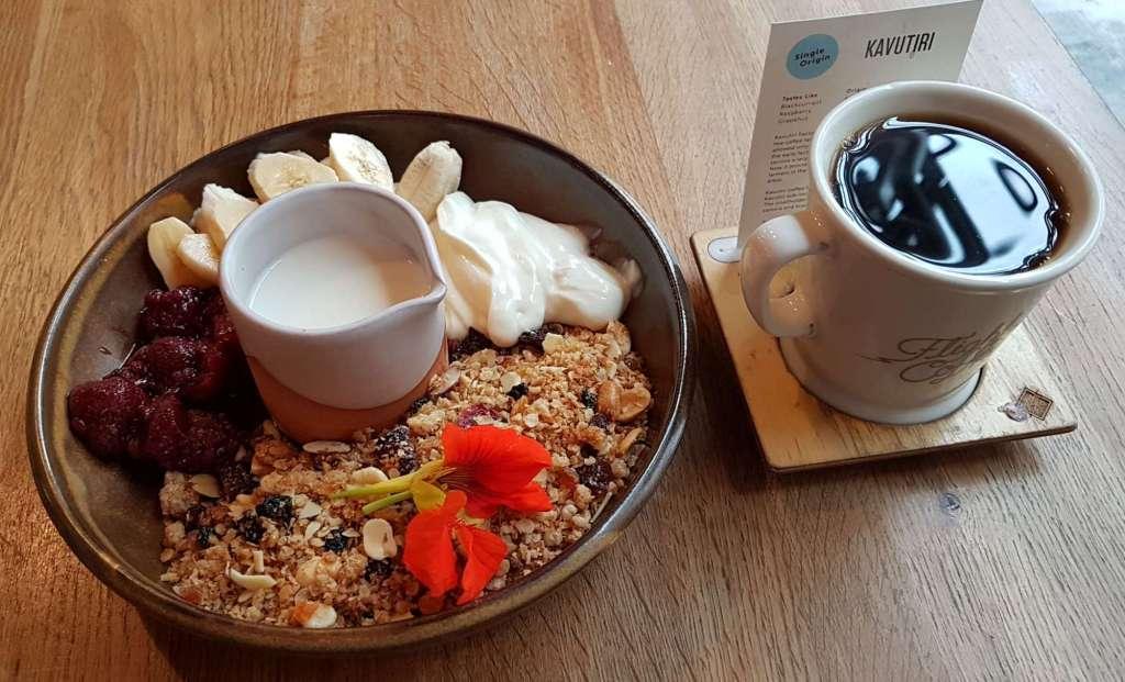Hangar cafe muesli and coffee