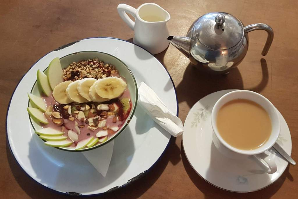 Chocolate Fish muesli bowl and tea
