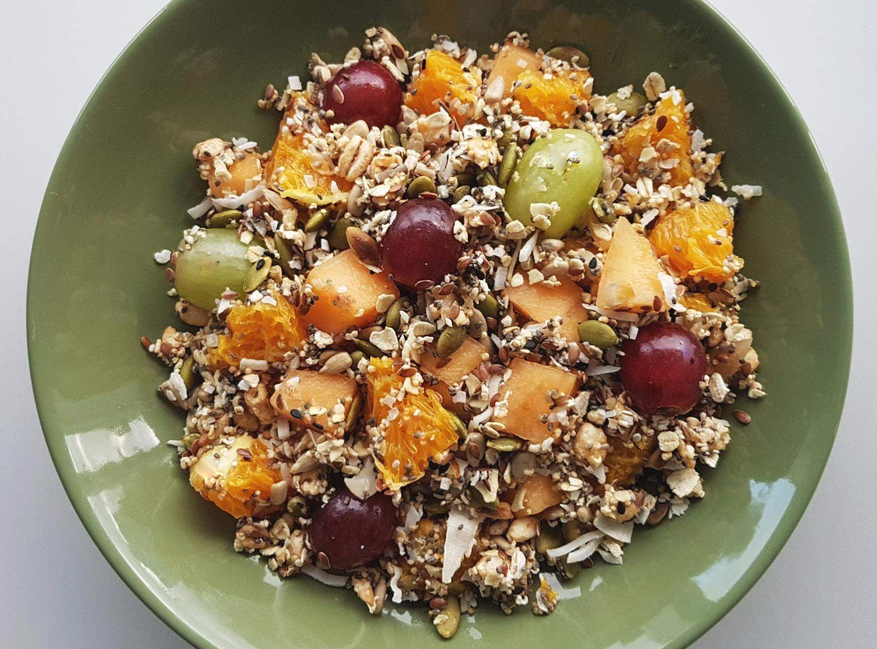 Home-made muesli with fresh fruit mixed in