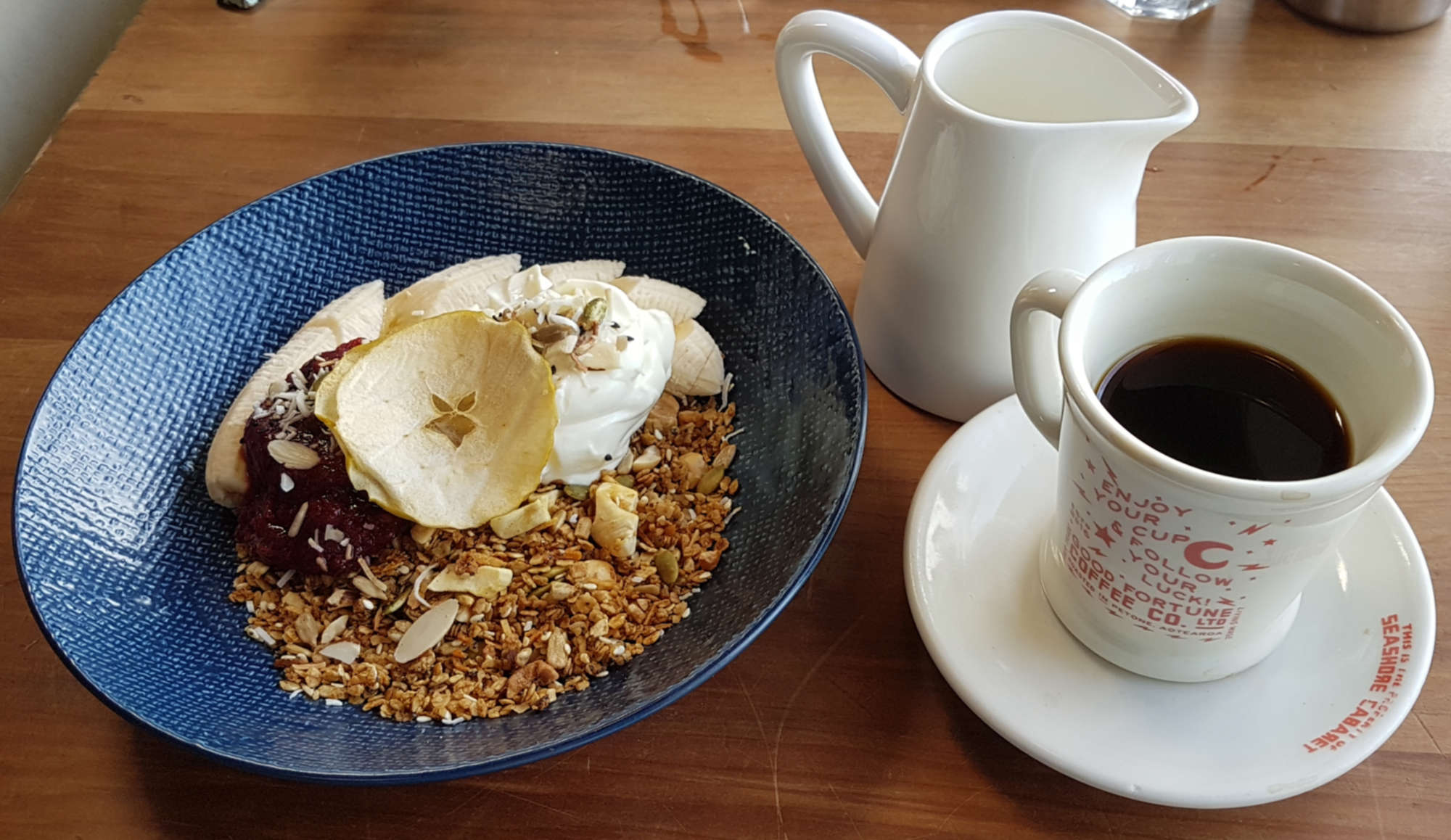 Seashore Cabaret granola and coffee