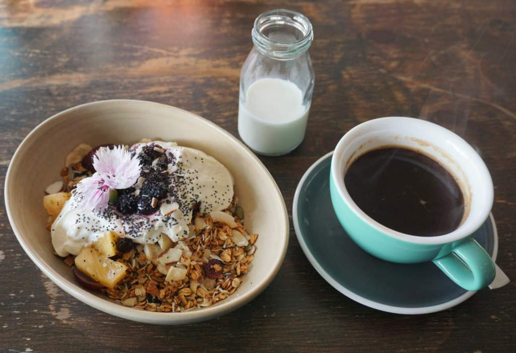 Spruce Goose muesli and coffee