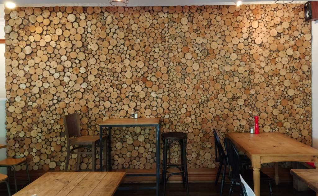 Brooklyn Deli log feature wall