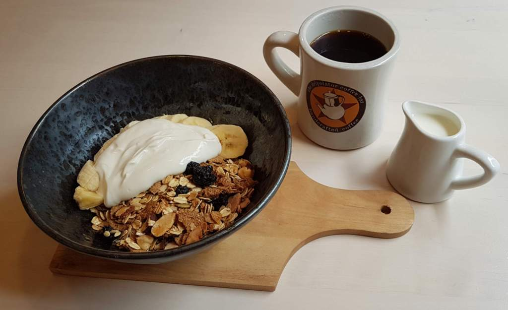 Goods muesli and coffee