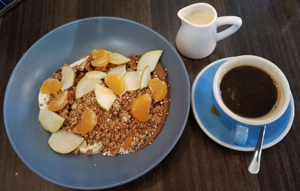 Egmont St Eatery granola and coffee