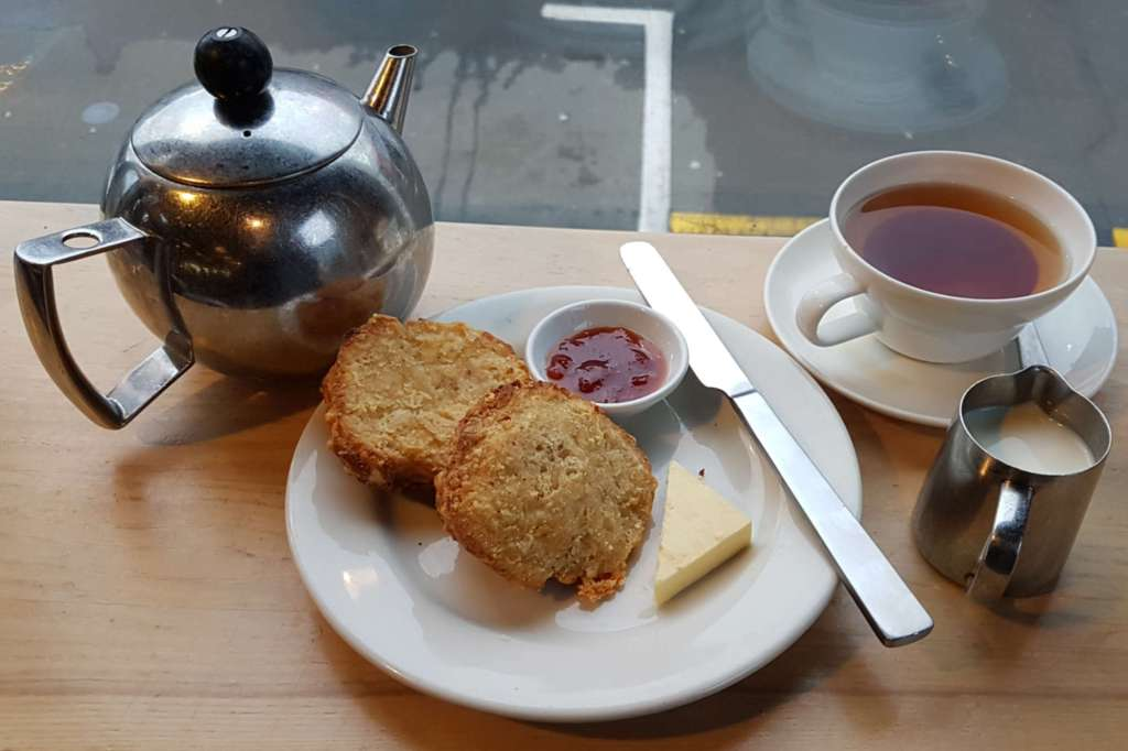 Prefab - cheese scone and tea