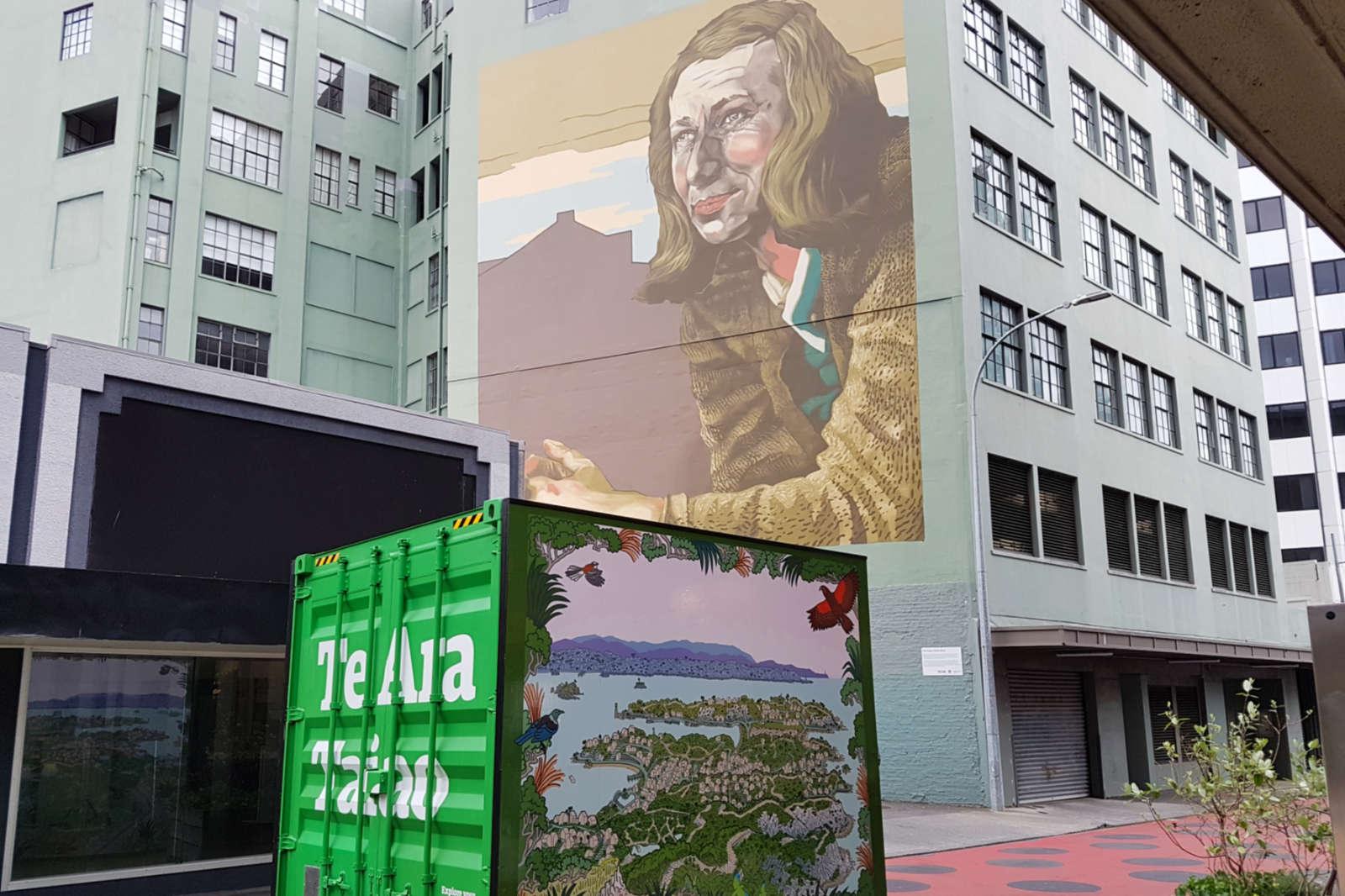 Pandoro - view to Bond street Rita Angus mural