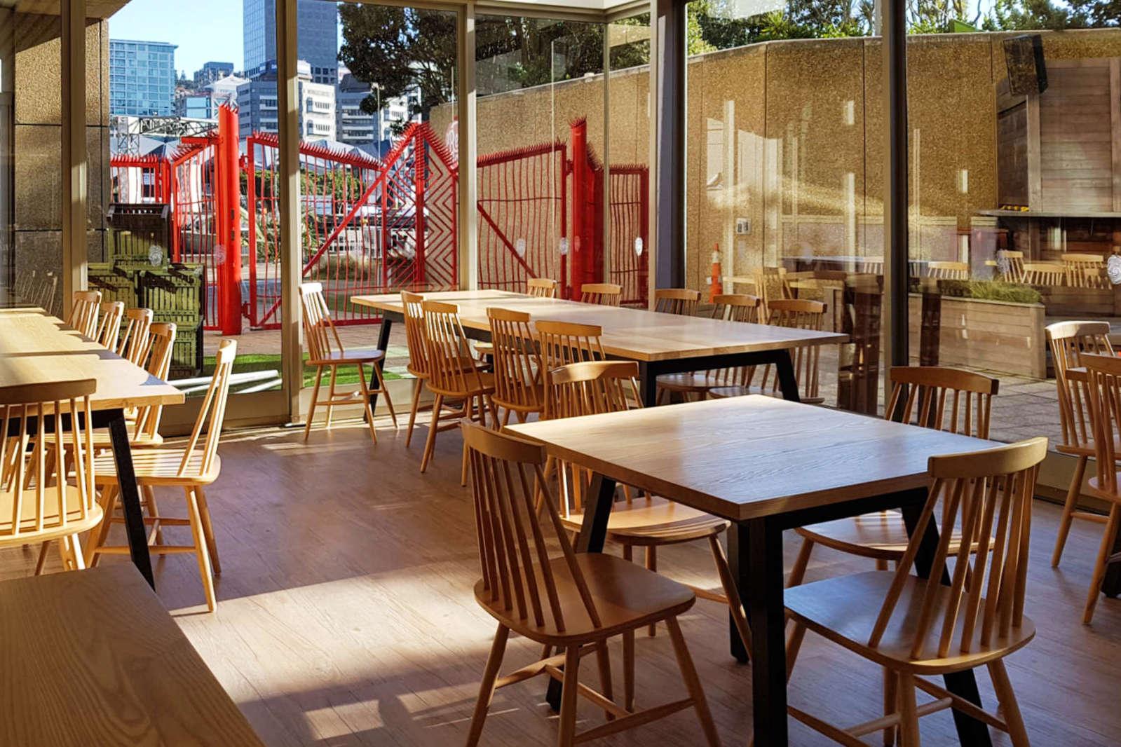 Te Papa Cafe - interior seating view to red gates