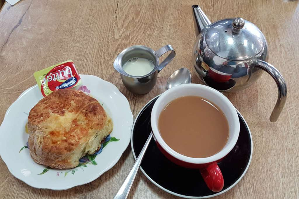 Word of Mouth cheese scone and tea