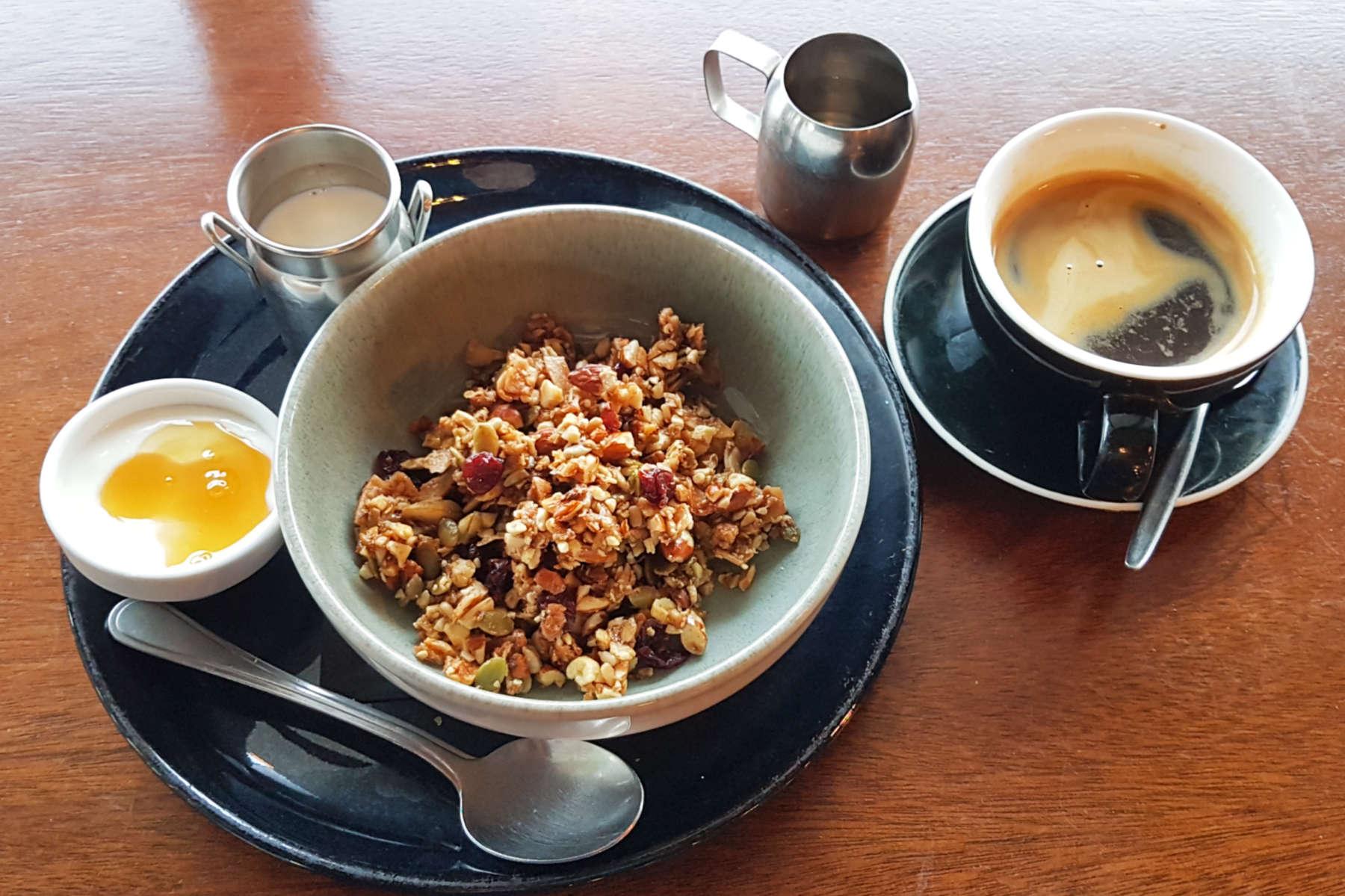 Faith & Co granola and coffee