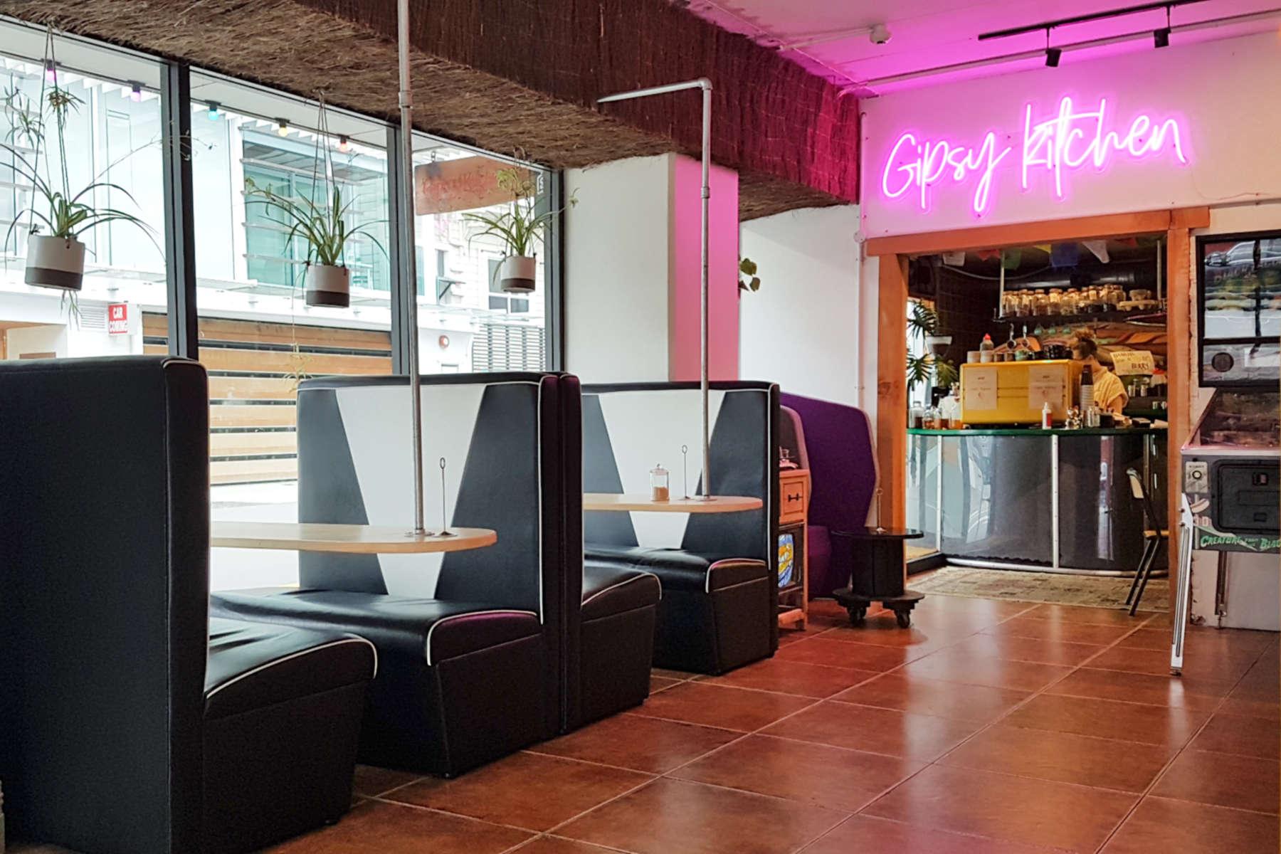 Gypsy Kitchen interior - black diner seating