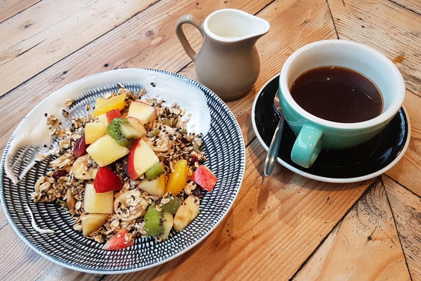 Arborist muesli and coffee