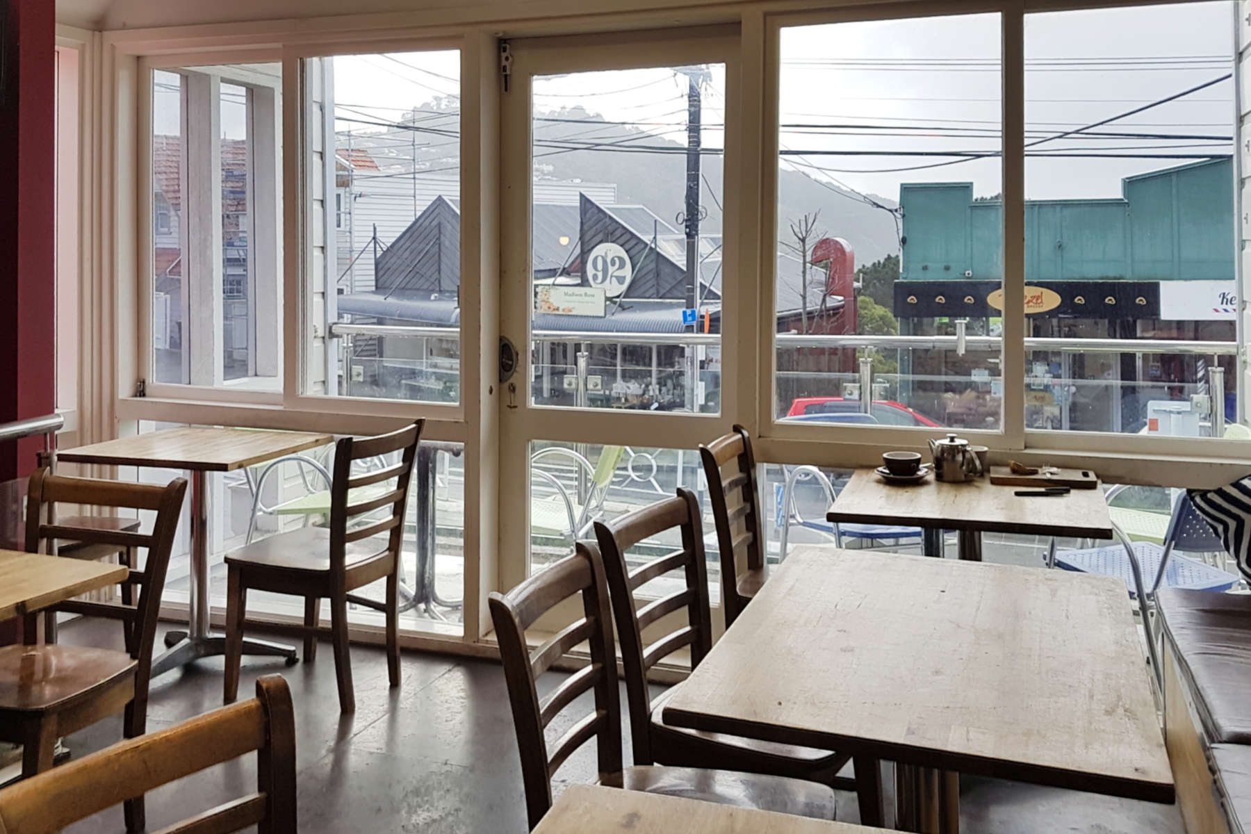 Kelburn Cafe - interior upstairs to front grey day