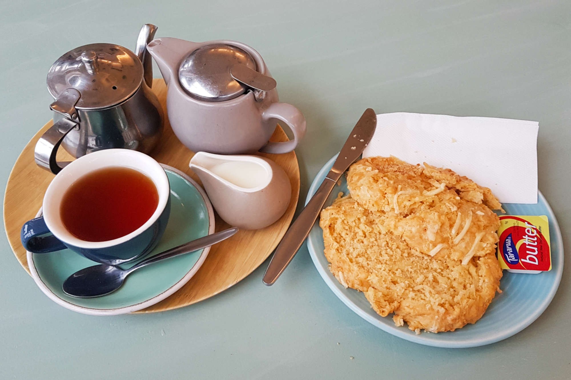 Cable Top cafe scone and tea